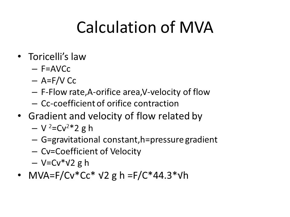 Calculation of MVA Toricelli's law