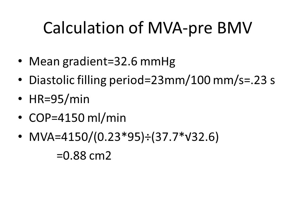 Calculation of MVA-pre BMV