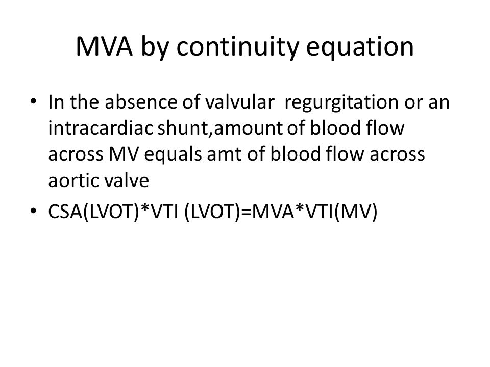 MVA by continuity equation