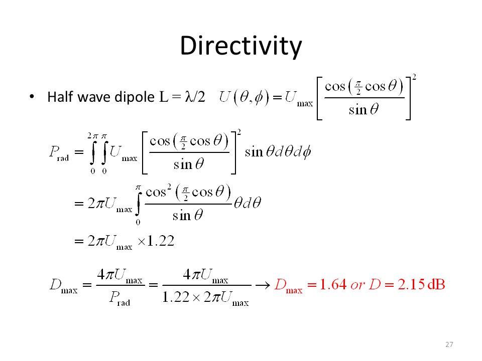 Directivity Half wave dipole L = λ/2