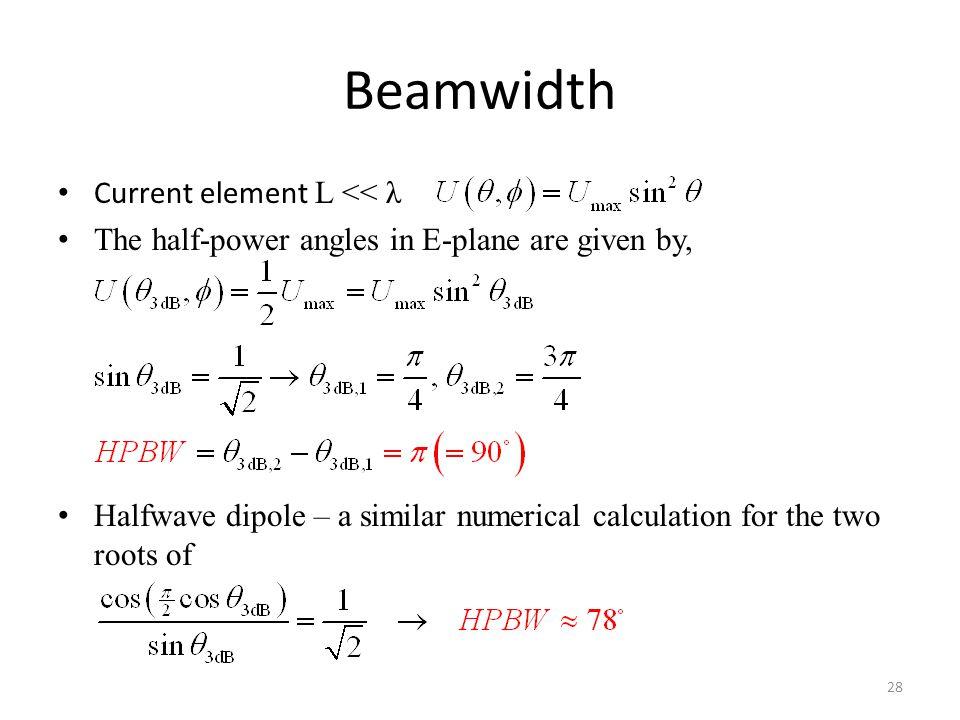 Beamwidth Current element L << λ