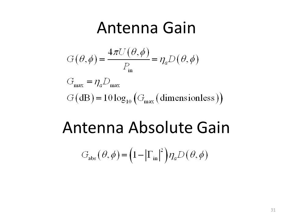 Antenna Gain Antenna Absolute Gain