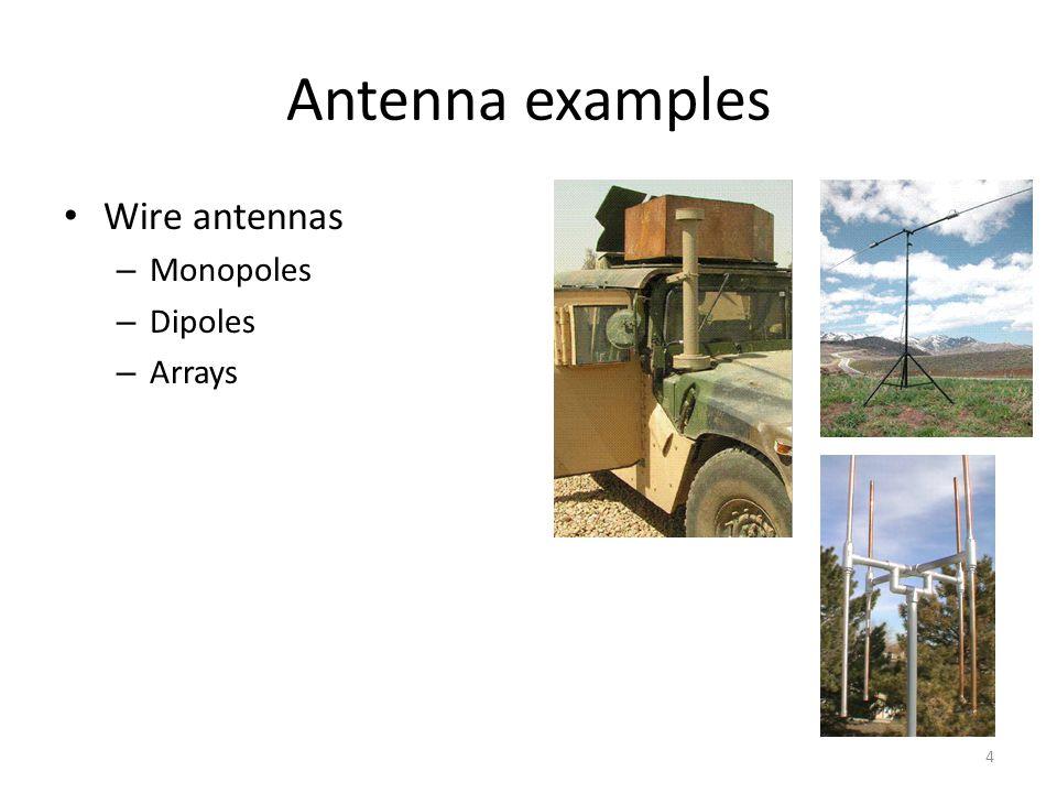 Antenna examples Wire antennas Monopoles Dipoles Arrays