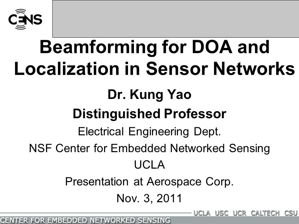 Beamforming for DOA and Localization in Sensor Networks