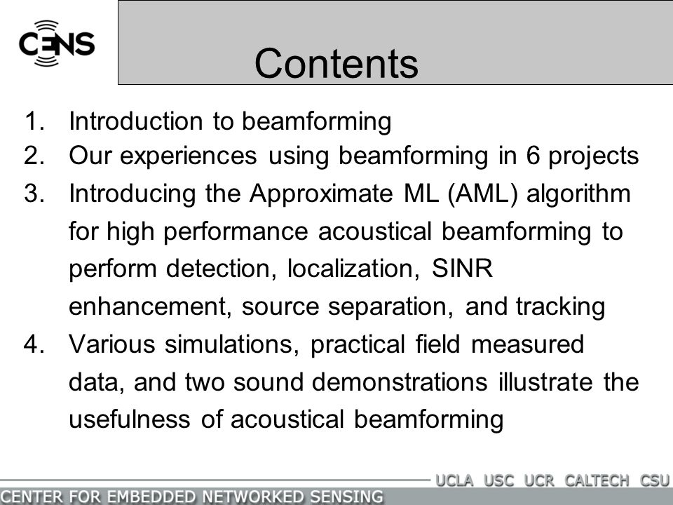 Contents Introduction to beamforming