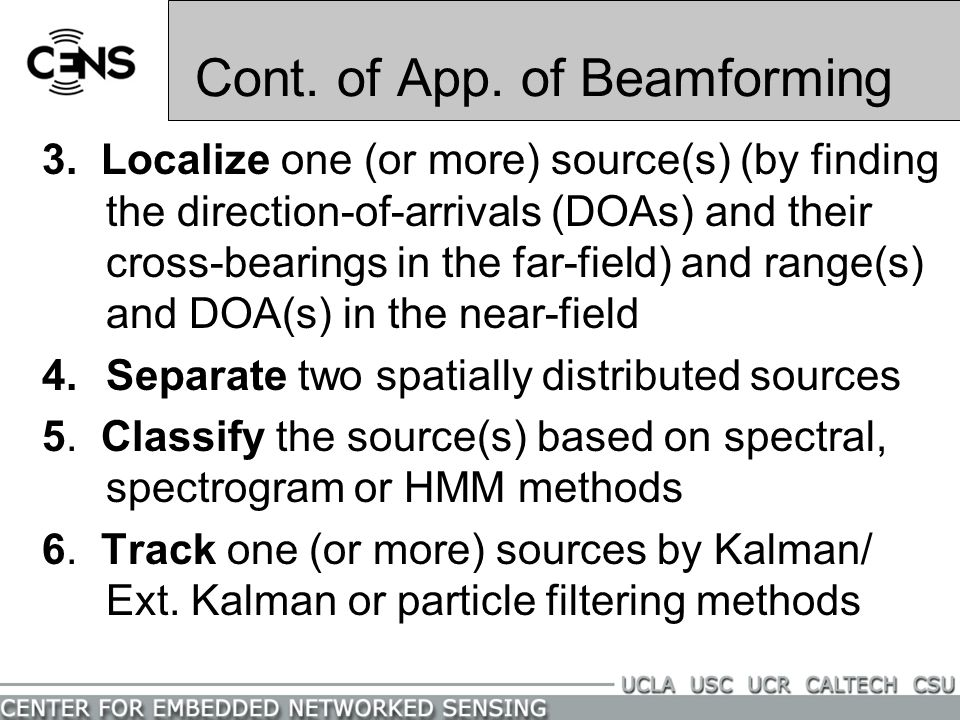 Cont. of App. of Beamforming