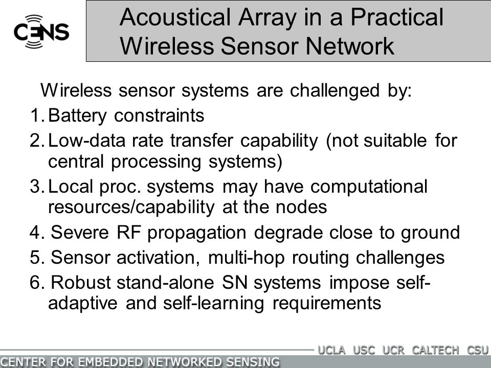 Acoustical Array in a Practical Wireless Sensor Network