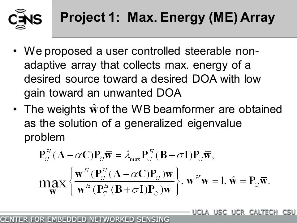 Project 1: Max. Energy (ME) Array