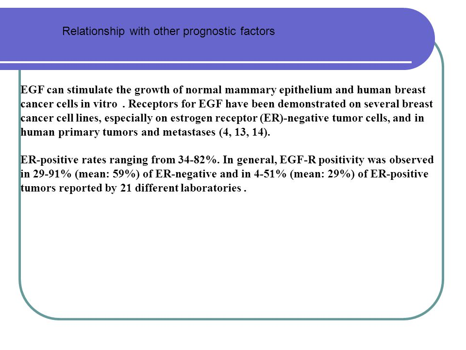 Relationship with other prognostic factors