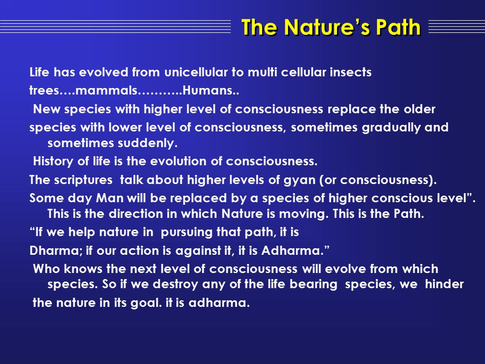 The Nature's Path Life has evolved from unicellular to multi cellular insects. trees….mammals………..Humans..