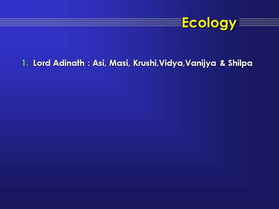 Ecology Lord Adinath : Asi, Masi, Krushi,Vidya,Vanijya & Shilpa