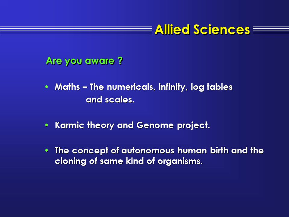 Allied Sciences Are you aware