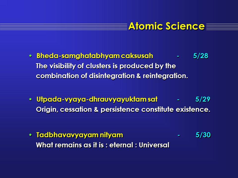 Atomic Science Bheda-samghatabhyam caksusah - 5/28