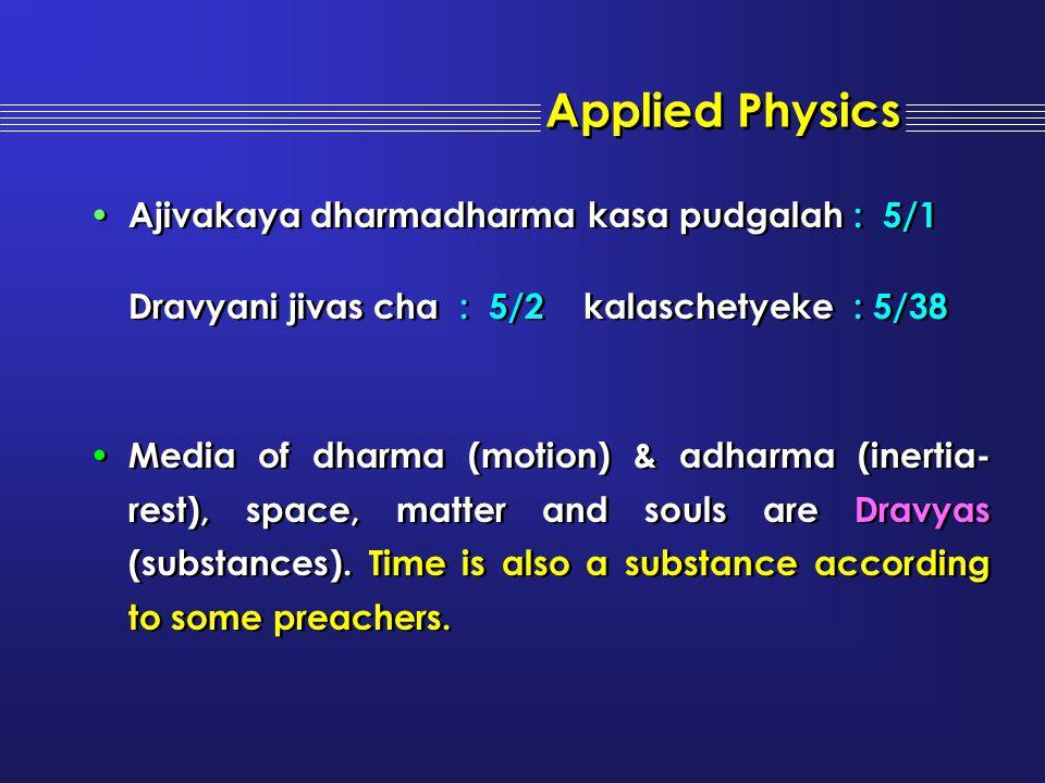 Applied Physics Ajivakaya dharmadharma kasa pudgalah : 5/1