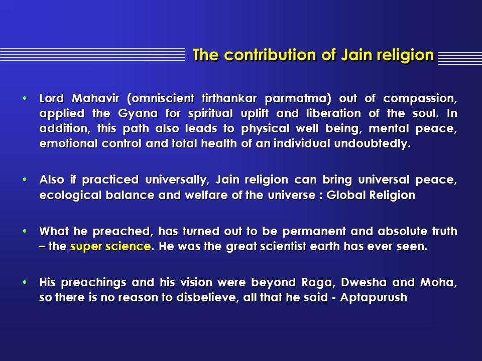 The contribution of Jain religion