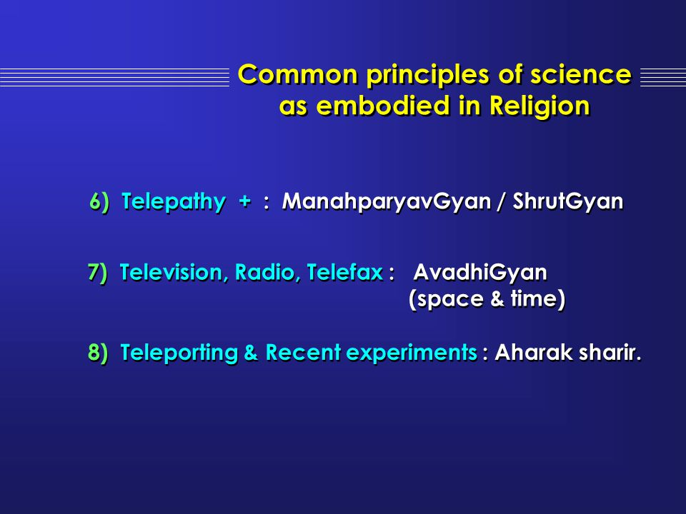 Common principles of science as embodied in Religion