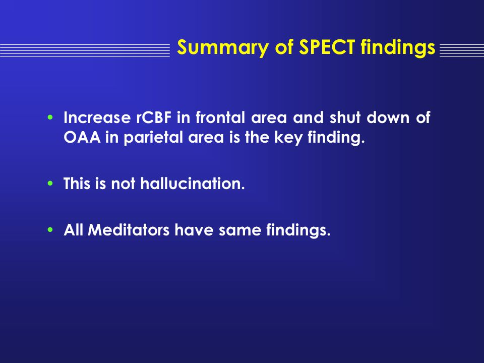 Summary of SPECT findings