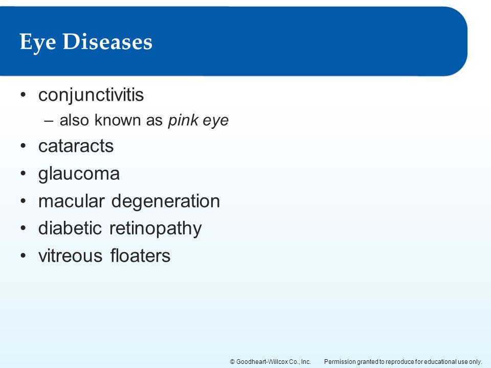 Eye Diseases conjunctivitis cataracts glaucoma macular degeneration