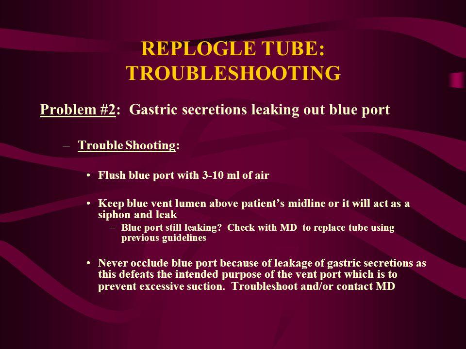 REPLOGLE TUBE: TROUBLESHOOTING
