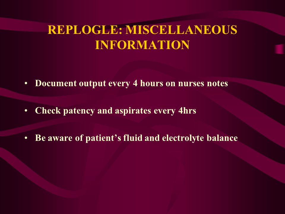 REPLOGLE: MISCELLANEOUS INFORMATION