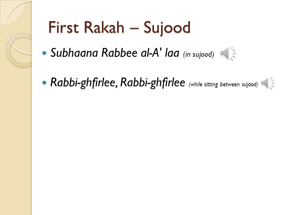 First Rakah – Sujood Subhaana Rabbee al-A laa (in sujood)