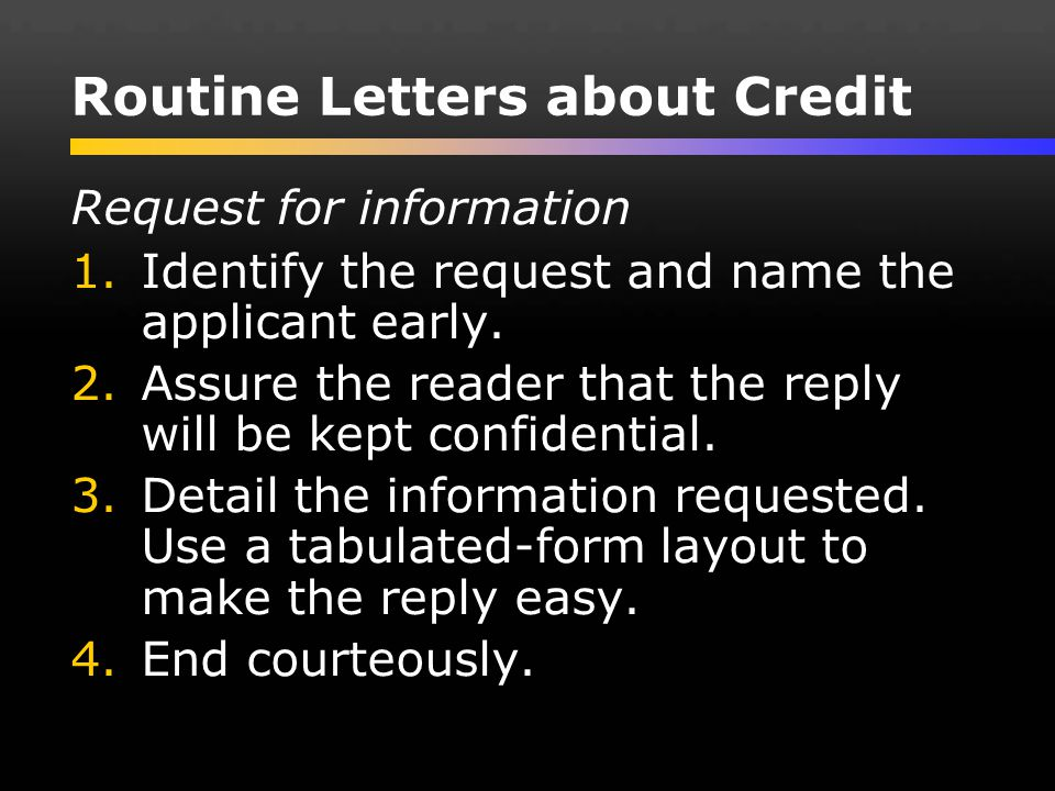 Routine Letters about Credit