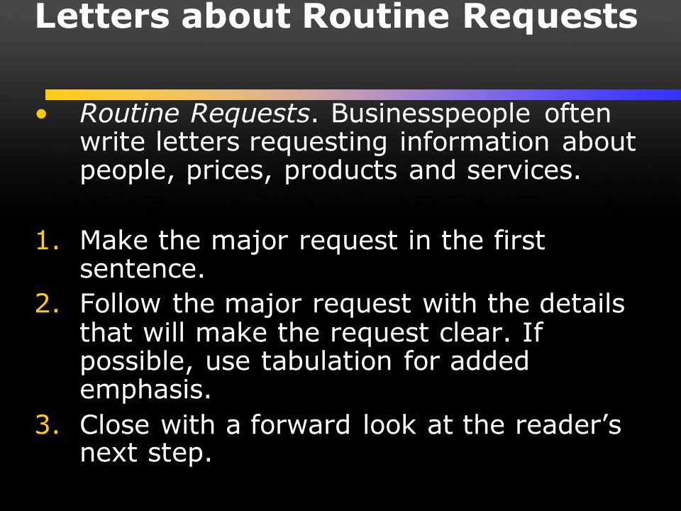 Letters about Routine Requests