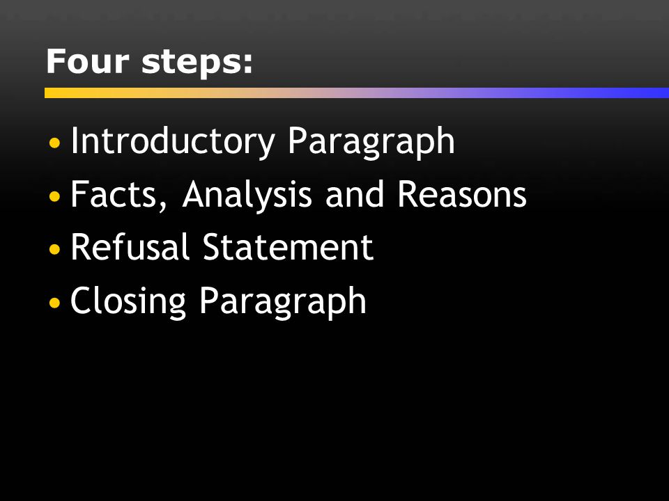 Introductory Paragraph Facts, Analysis and Reasons Refusal Statement