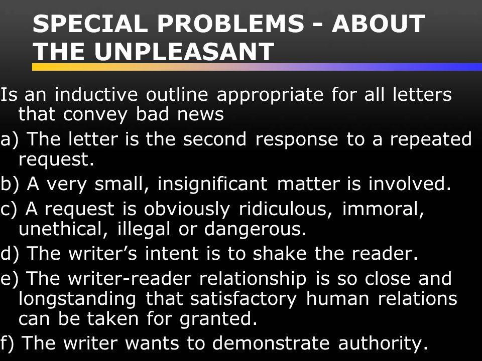SPECIAL PROBLEMS - ABOUT THE UNPLEASANT