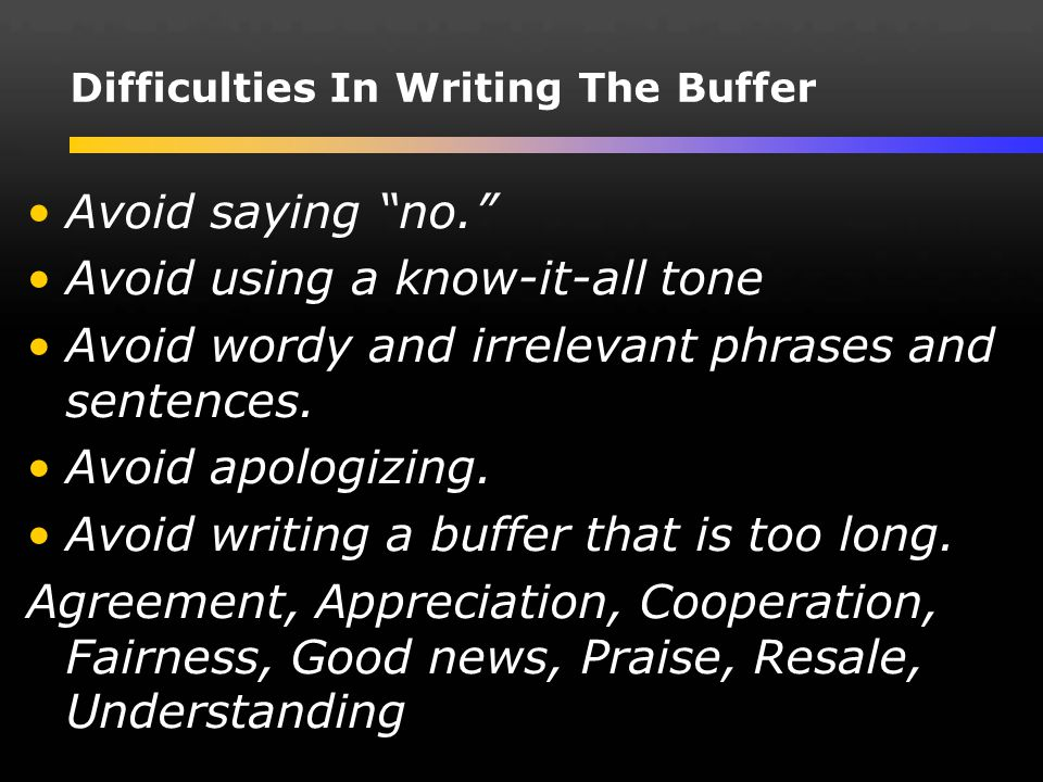 Difficulties In Writing The Buffer