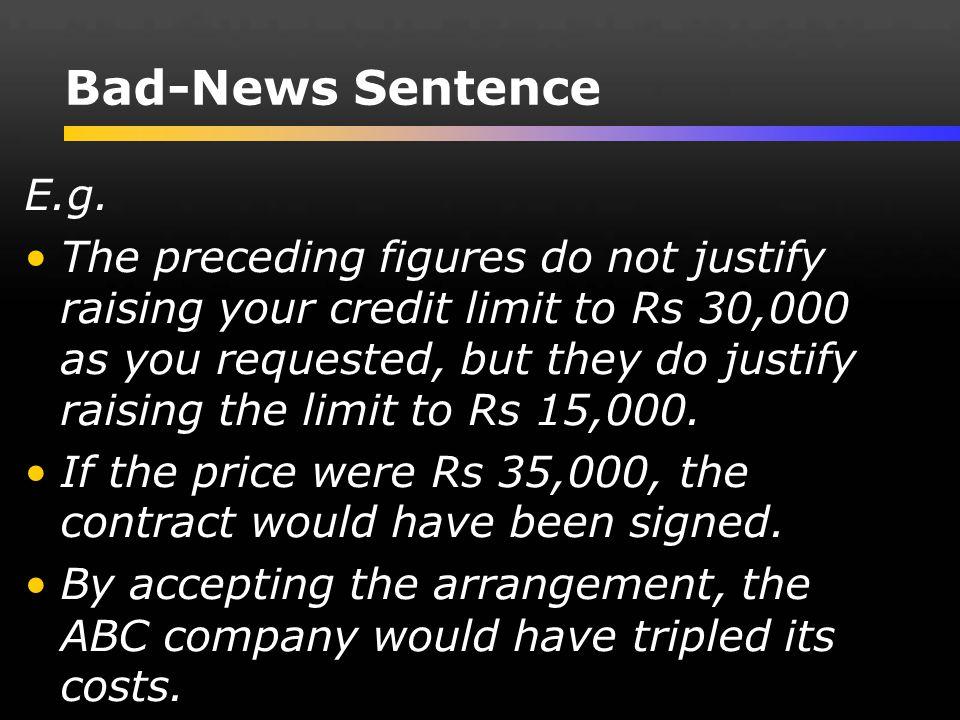 Bad-News Sentence E.g.