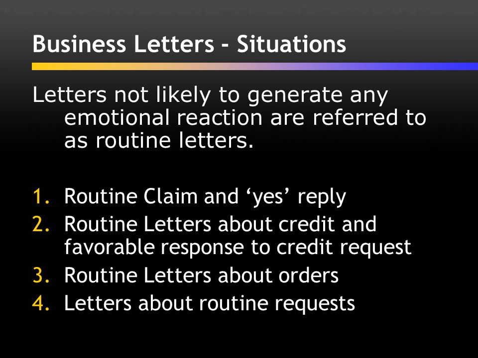 Business Letters - Situations
