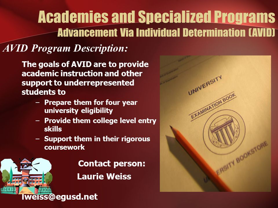 Academies and Specialized Programs Advancement Via Individual Determination (AVID)