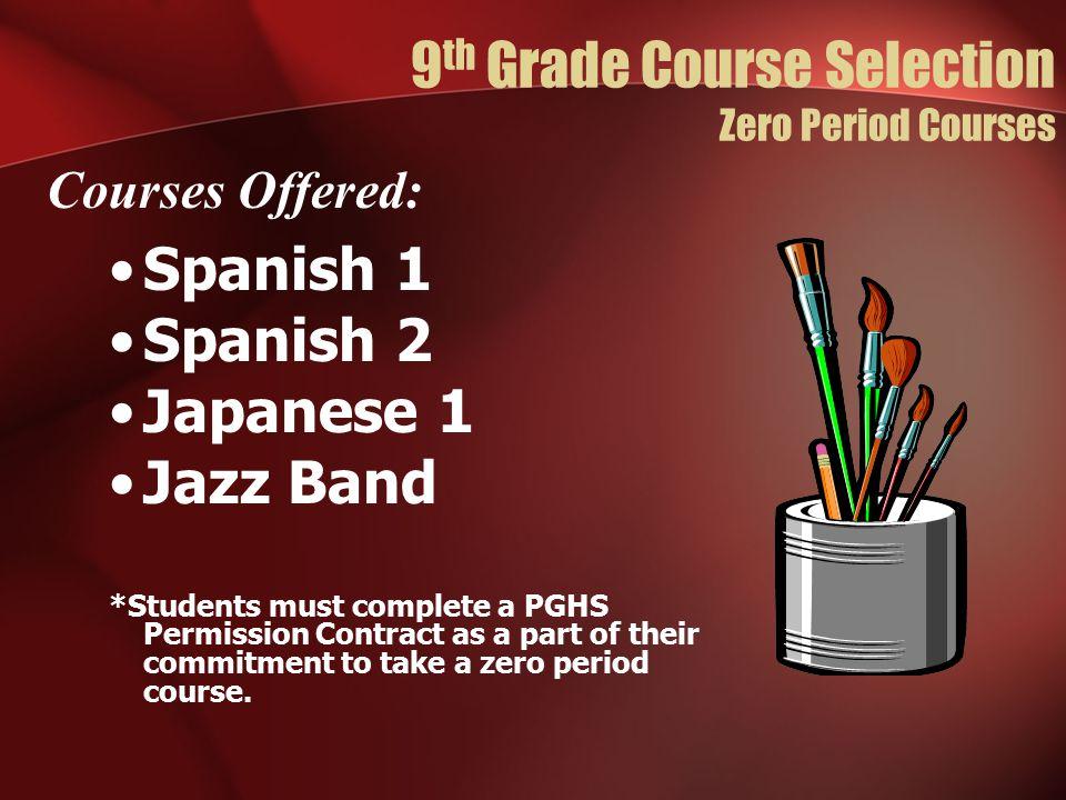 9th Grade Course Selection Zero Period Courses