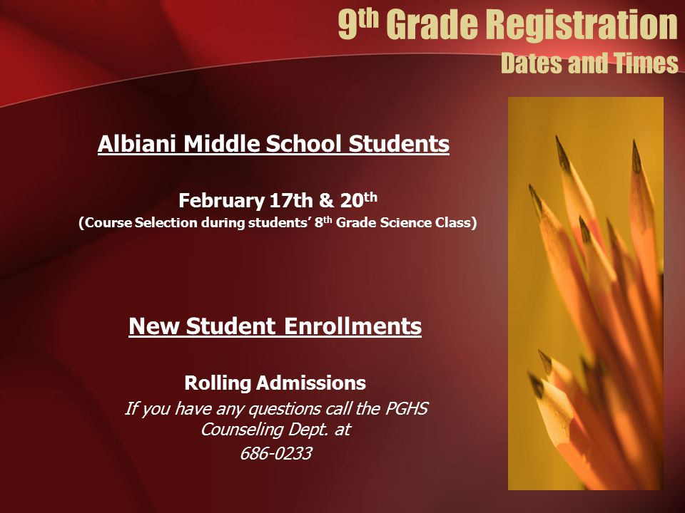 9th Grade Registration Dates and Times
