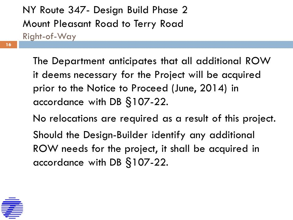 NY Route 347- Design Build Phase 2 Mount Pleasant Road to Terry Road Right-of-Way