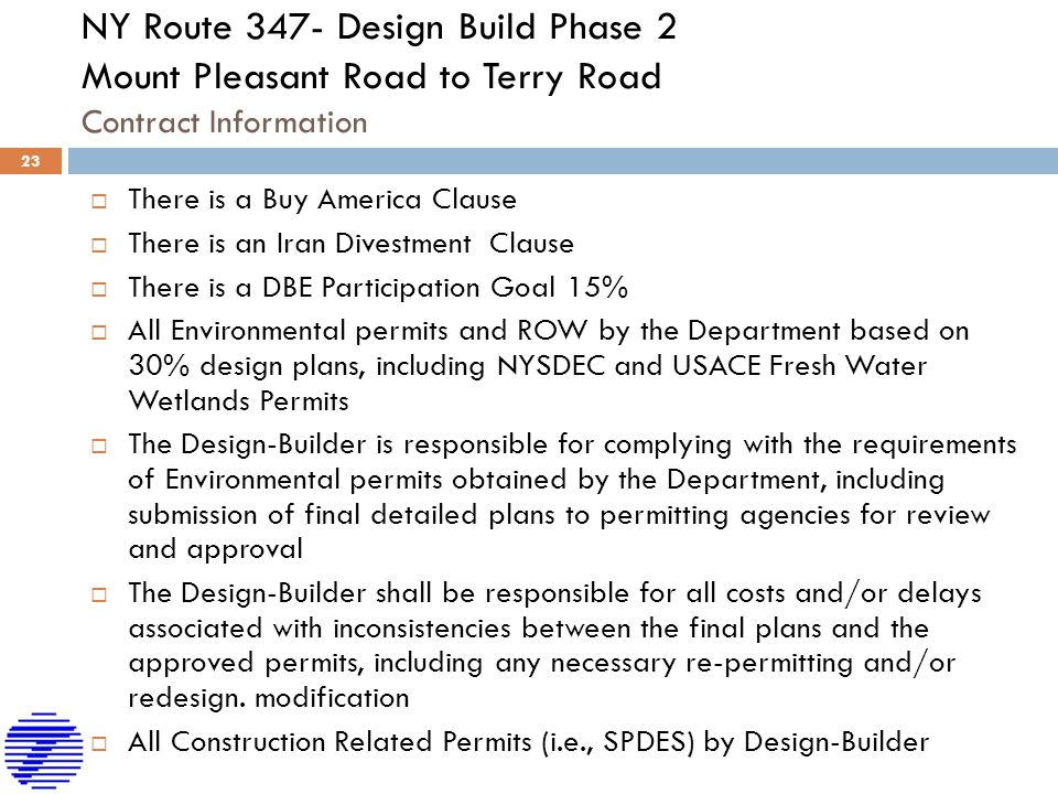 NY Route 347- Design Build Phase 2 Mount Pleasant Road to Terry Road Contract Information