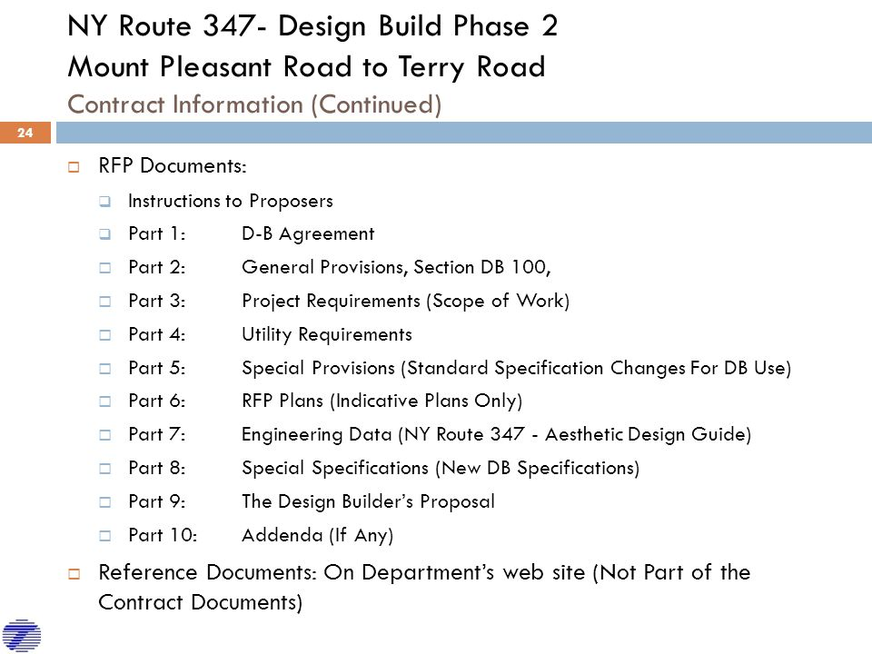 NY Route 347- Design Build Phase 2 Mount Pleasant Road to Terry Road Contract Information (Continued)