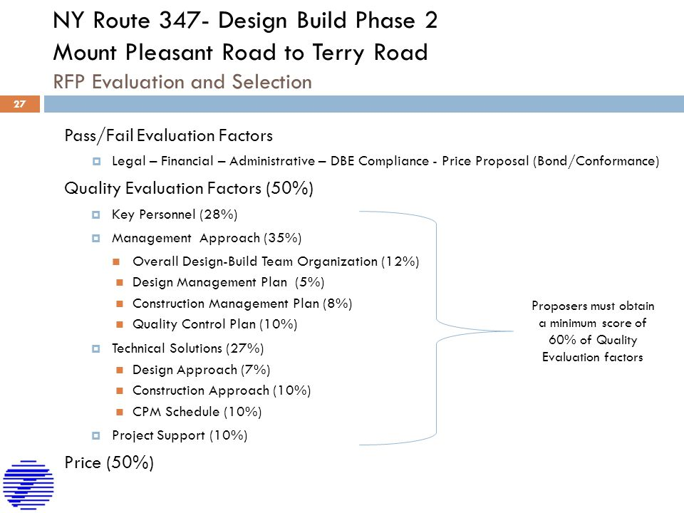 NY Route 347- Design Build Phase 2 Mount Pleasant Road to Terry Road RFP Evaluation and Selection