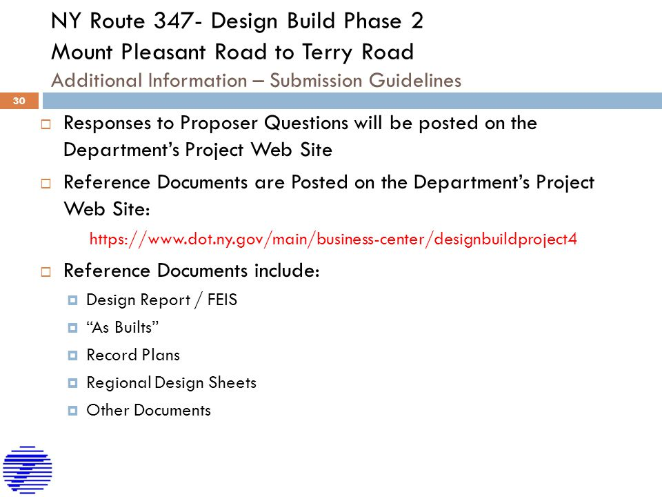 NY Route 347- Design Build Phase 2 Mount Pleasant Road to Terry Road Additional Information – Submission Guidelines