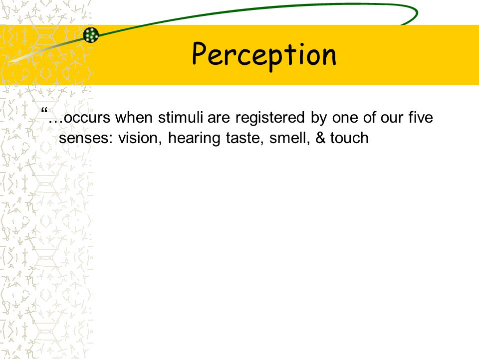 Perception …occurs when stimuli are registered by one of our five senses: vision, hearing taste, smell, & touch.