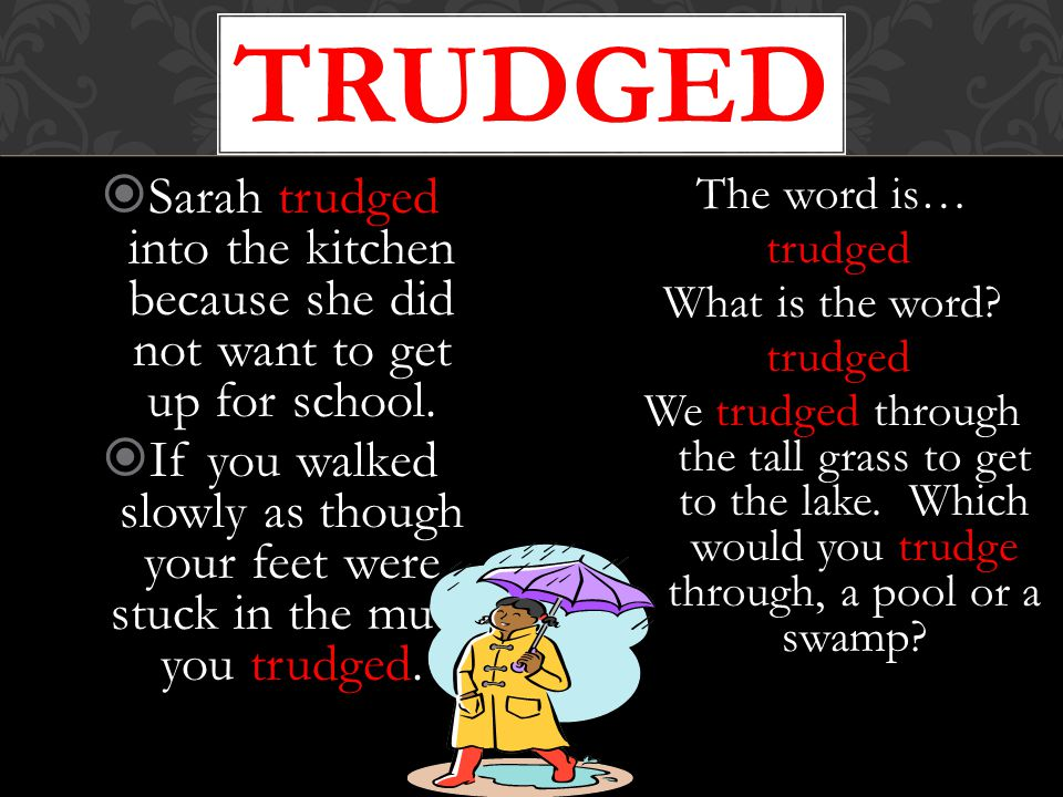 trudged Sarah trudged into the kitchen because she did not want to get up for school.