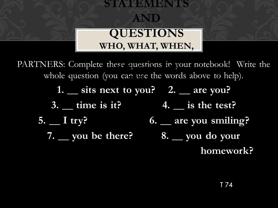 Statements and Questions Who, What, When, Where, Why, How, Can, Did, Will….