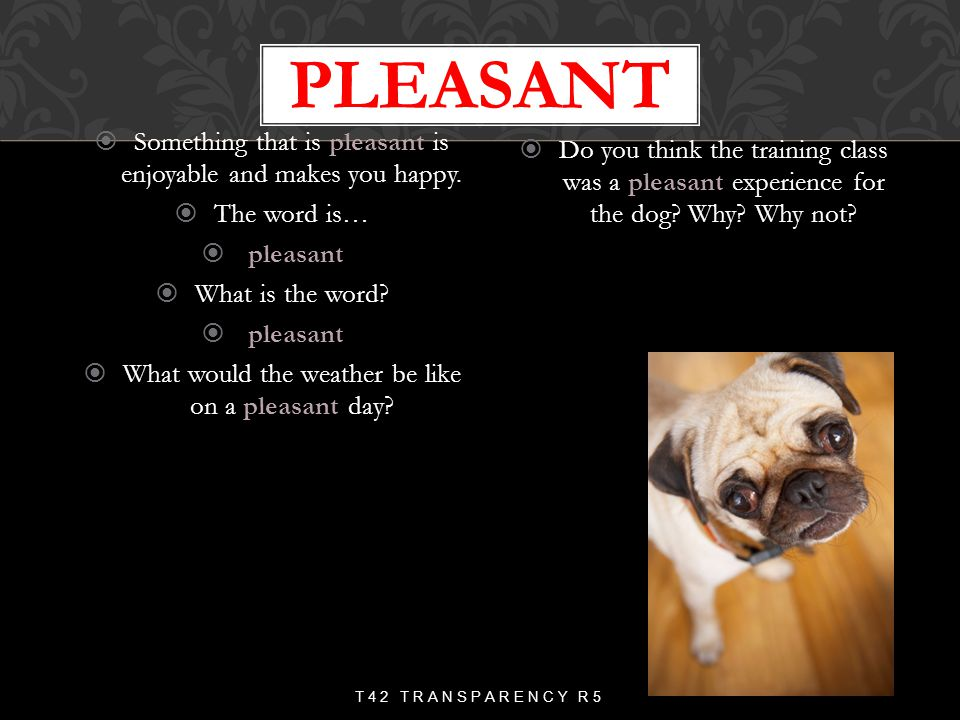 pleasant Something that is pleasant is enjoyable and makes you happy.