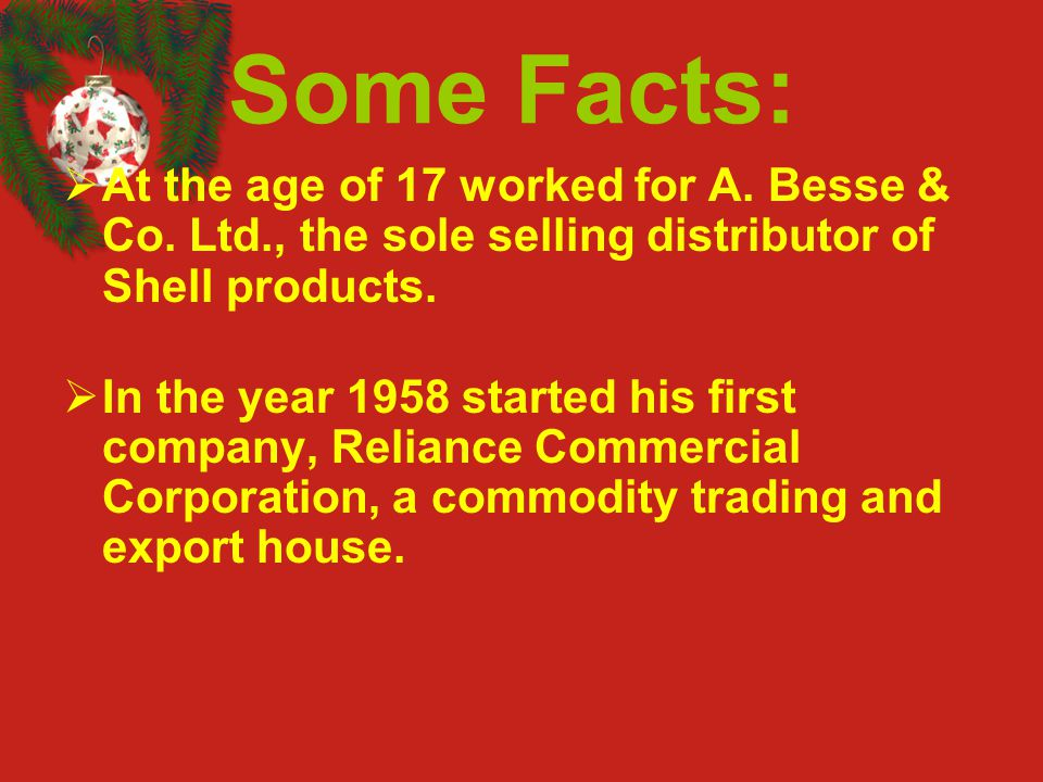 Some Facts: At the age of 17 worked for A. Besse & Co. Ltd., the sole selling distributor of Shell products.