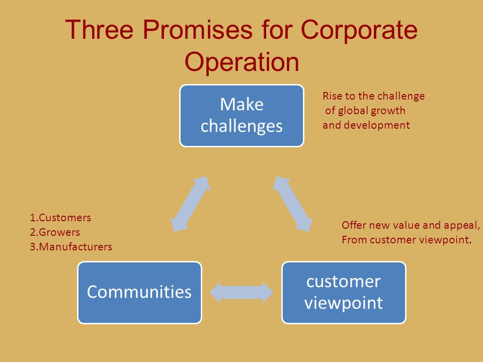 Three Promises for Corporate Operation