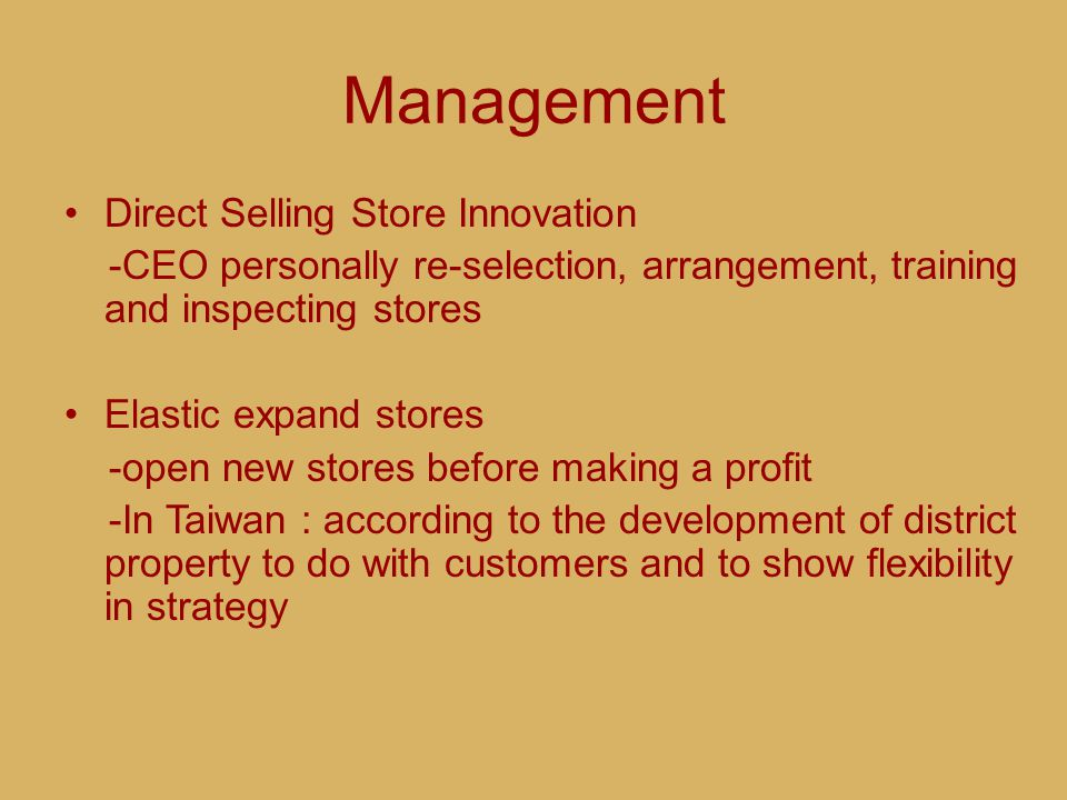 Management Direct Selling Store Innovation