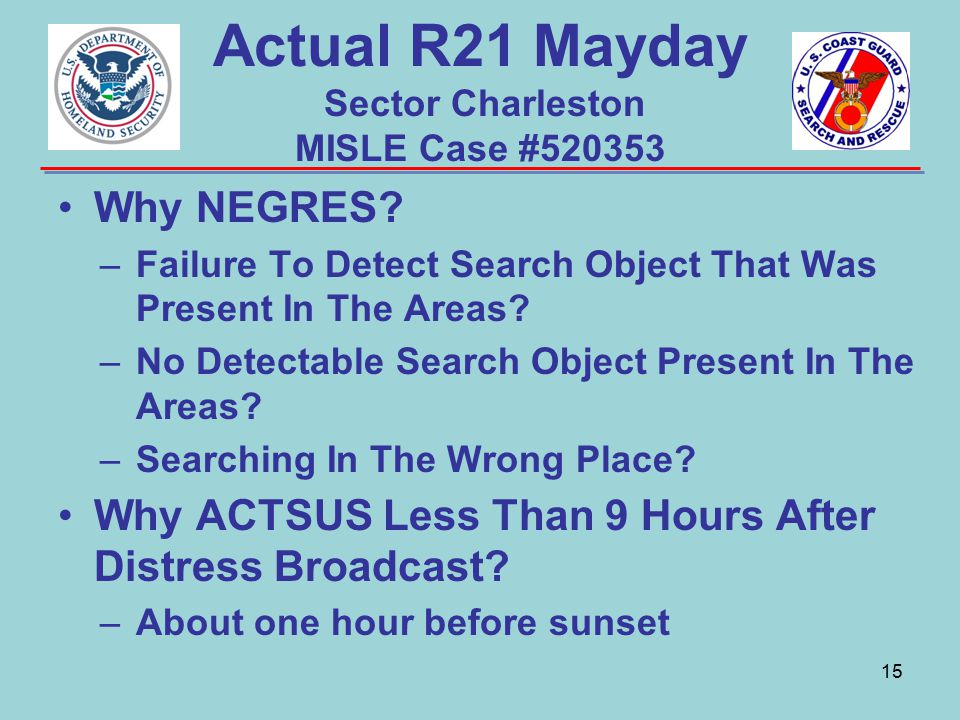Actual R21 Mayday Sector Charleston MISLE Case #520353