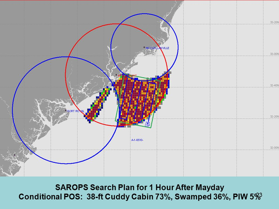 SAROPS Search Plan for 1 Hour After Mayday