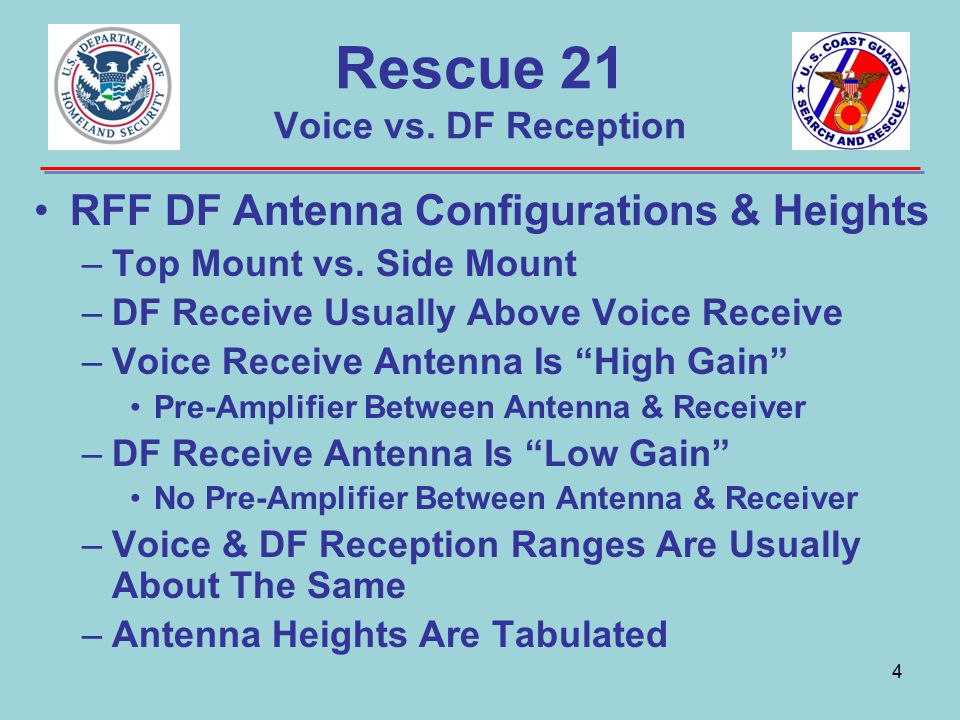 Rescue 21 Voice vs. DF Reception